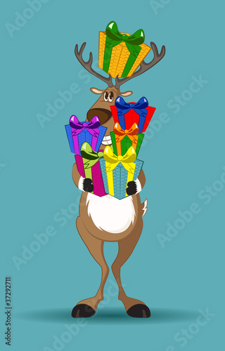 Reindeer holding a lot of gifts gifts
