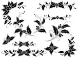 Black and white Christmas holly decoration