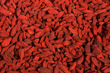 Big pile of healthy dried goji berries