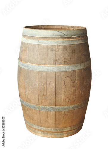 Old wood barrel isolated - 37293307
