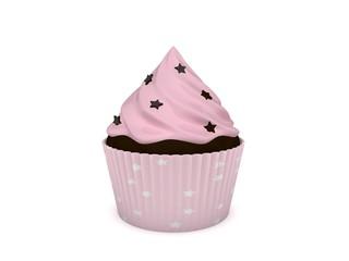 3d Rendering Cupcake rosa Schoko Sternchen Streusel