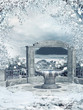 Zimowa sceneria z małą fontanną