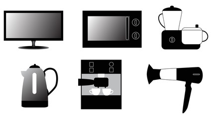 set of household appliances icons isolated on white