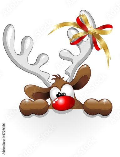 Renna Buffa Divertente Cartoon-Funny Reindeer Character