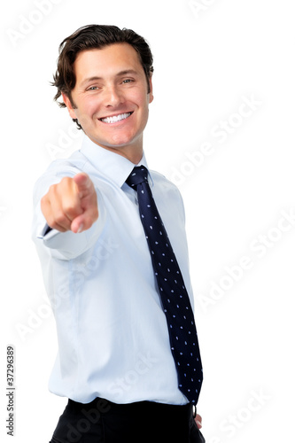 Businessman pointing into frame