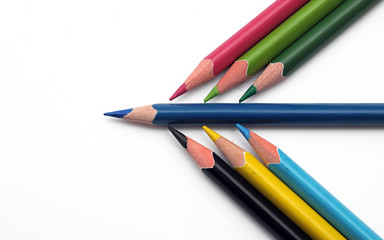 Many Different Colorful Pencils on the white background