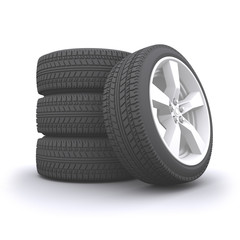 Detailed Car wheel set