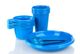 Bright blue plastic tableware isolated on white
