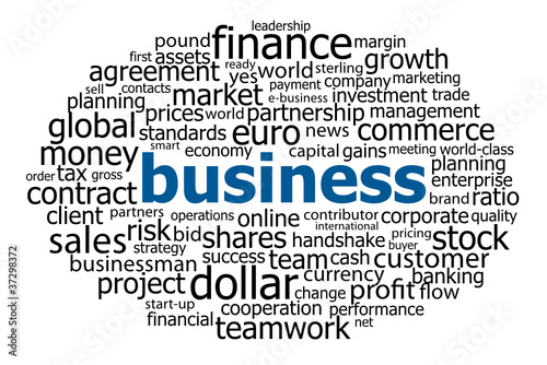 """BUSINESS"" Tag Cloud (commerce contracts money banking finance)"