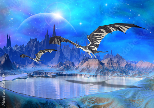 Tuinposter Draken Dragons - Fantasy World 02