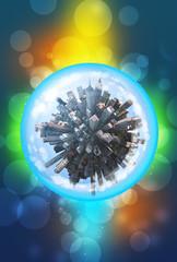 Miniature city inside in glass sphere