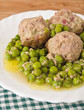 Meatballs with peas.