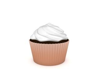 3d Rendering Cupcake weiß