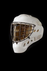 Hockey Goalie Mask. Isolated on black.