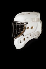 Hockey Goalie Helmet. Isolated on black.
