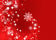 Snowflake in red background with shiny stars