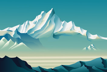 Bewitching snowy mountains  in Roerich style.