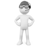 Bodyguard with a hat sunglasses and headphones poster