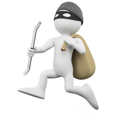 Thief running with a crowbar and a sack