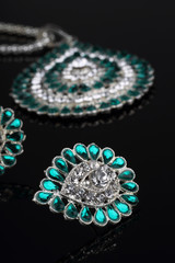 Intricate Diamond Earrings Closeup