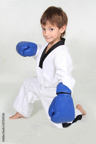 young boxer boy studio shot