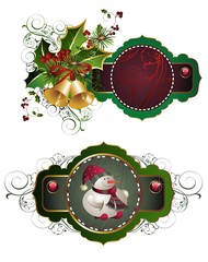 Merry Christmas illustration with snowman and bells
