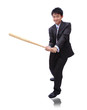 Business man holding baseball bat with friendly smile