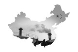 China Map made by pollution smokestack, For environment issue poster