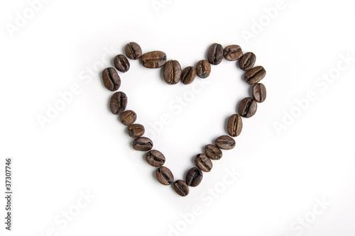 Fotobehang Koffiebonen Heart made from coffee beans