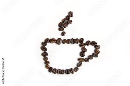 Fotobehang Koffiebonen Coffe cup made from coffee beans