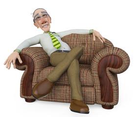 granddad businessman relaxing on sofa