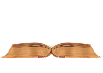 Old open book isolated on white background