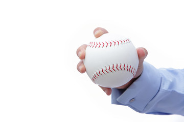 Business man hand holding a baseball