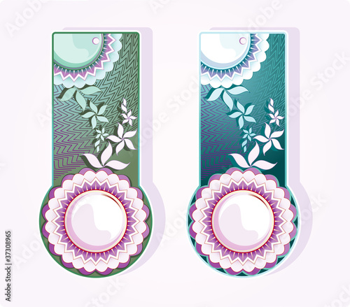 Labels with flowers ornament, on a light background. Vector