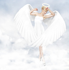 Young woman as an angel