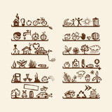 Shelves with ecology icons for yuor design