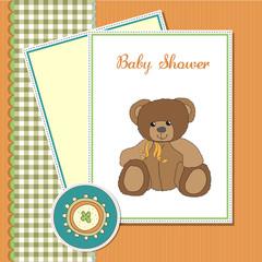 baby greeting card with sleepy teddy bear