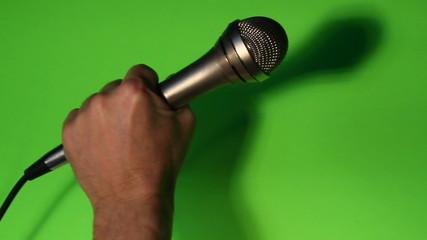 Chrome microphone closeup