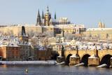 Fototapety Romantic Snowy Prague gothic Castle, Czech Republic