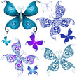 Set vintage butterflies