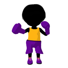 Little Boxer Girl Illustration Silhouette
