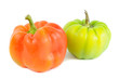 Red and Green Bell Peppers Isolated on White Background