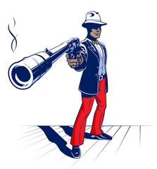 cartoon illustration of mobster
