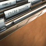 child benefit writen onto a folder poster