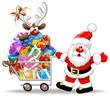 Babbo Natale Renna Carrello Spesa-Santa Reindeer & Shopping Cart