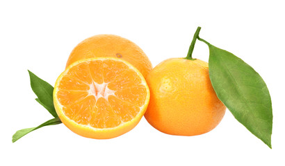 fresh tangerines on white background