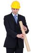 Man peering down a cardboard tube