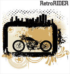 Vector background with a motorcycle