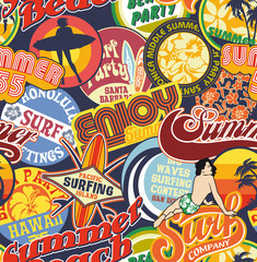 Beach vintage pins seamless pattern