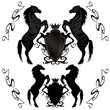 heraldic shields with black stallions
